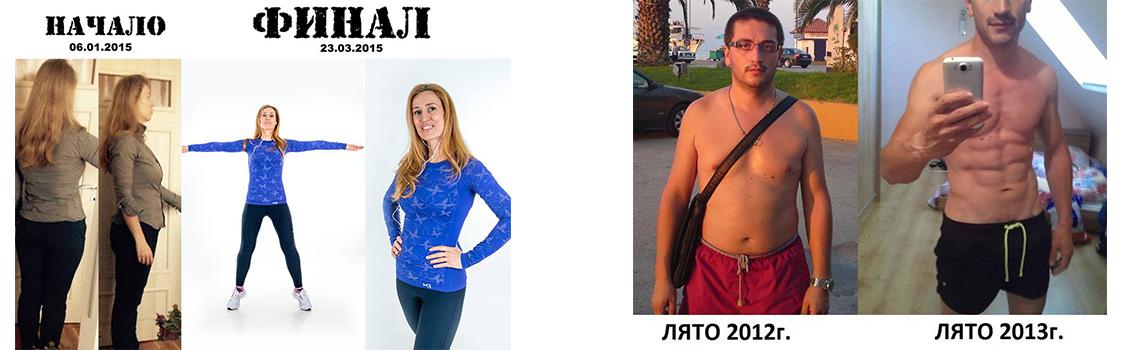 Фитнес резултати преди и след изготвянето на тренировъчен и хранителен режим